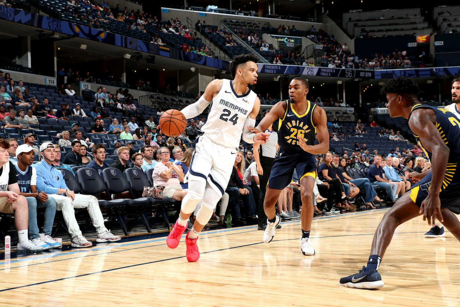 MEMPHIS, TN - OCTOBER 6: Dillon Brooks #24 of the Memphis Grizzlies handles the ball against the Indiana Pacers during a pre-season game on October 6, 2018 at FedExForum in Memphis, Tennessee.