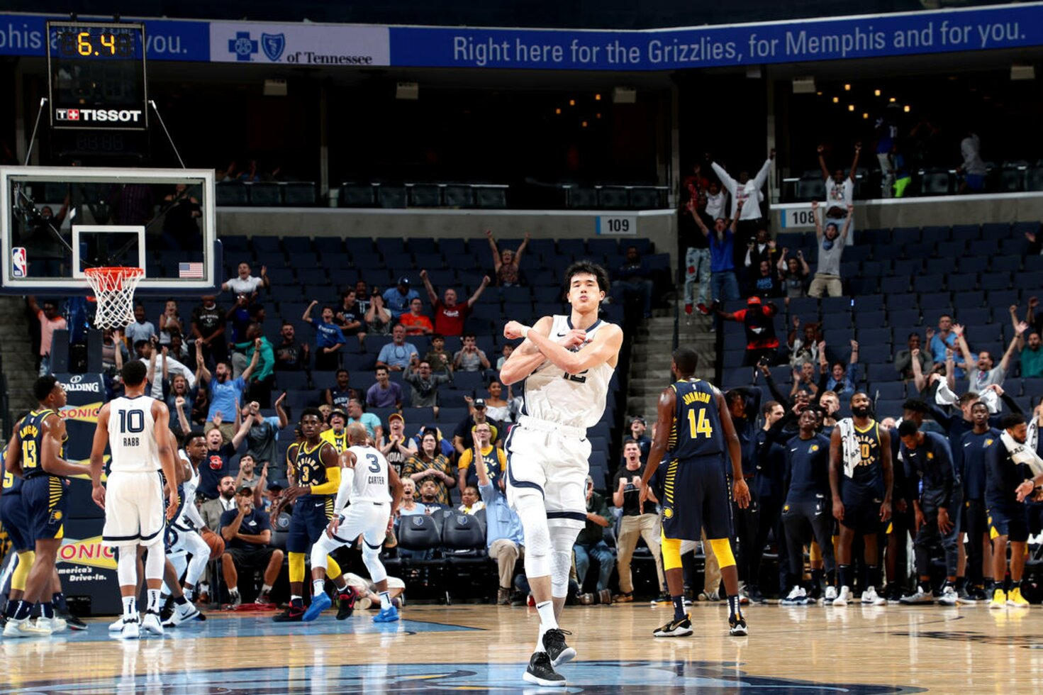 MEMPHIS, TN - OCTOBER 6: Yuta Watanabe #12 of the Memphis Grizzlies reacts against the Indiana Pacers during a pre-season game on October 6, 2018 at FedExForum in Memphis, Tennessee.