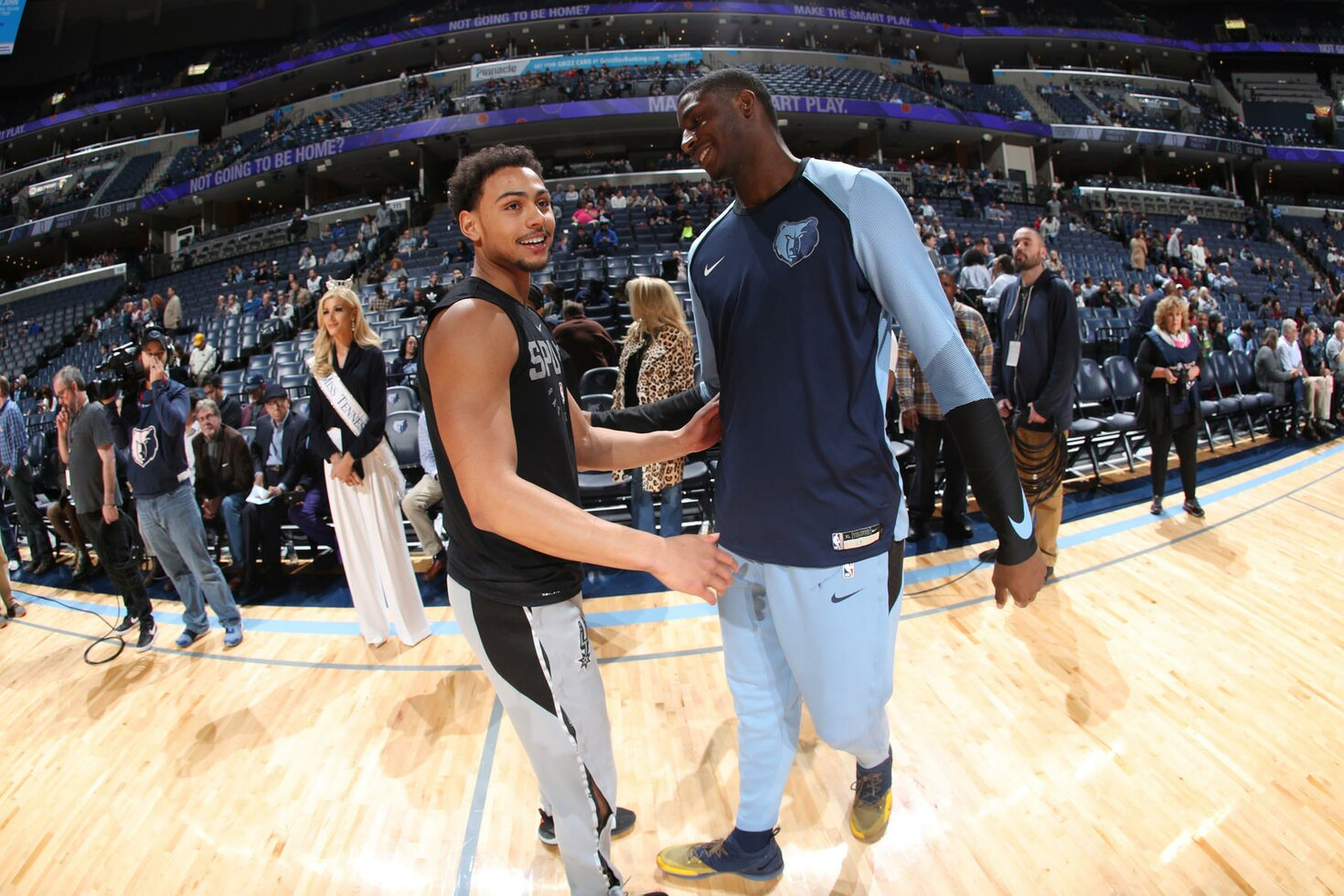 MEMPHIS, TN - JANUARY 9: Bryn Forbes #11 of the San Antonio Spurs and Jaren Jackson Jr. #13 of the Memphis Grizzlies smile prior to a game on January 9, 2019 at FedExForum in Memphis, Tennessee.