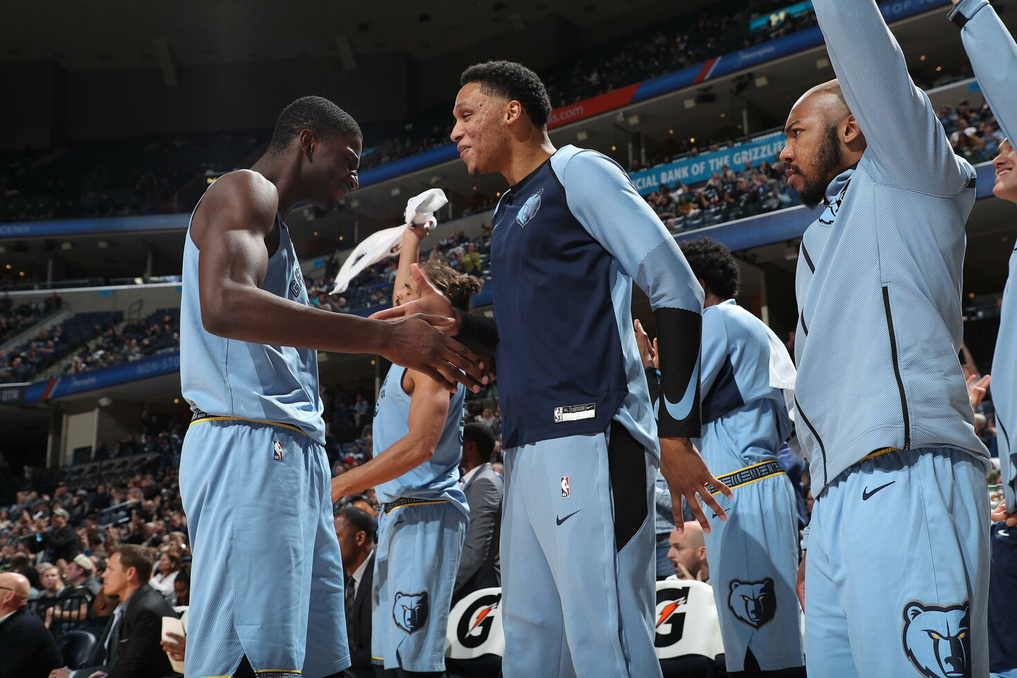 MEMPHIS, TN - JANUARY 9: Jaren Jackson Jr. #13 and Ivan Rabb #10 of the Memphis Grizzlies react during a game against the San Antonio Spurs on January 9, 2019 at FedExForum in Memphis, Tennessee.