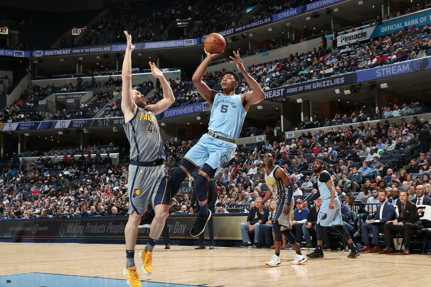 MEMPHIS, TN - JANUARY 26:  Bruno Caboclo #5 of the Memphis Grizzlies shoots the ball against the Indiana Pacers on January 26, 2019 at FedExForum in Memphis, Tennessee.