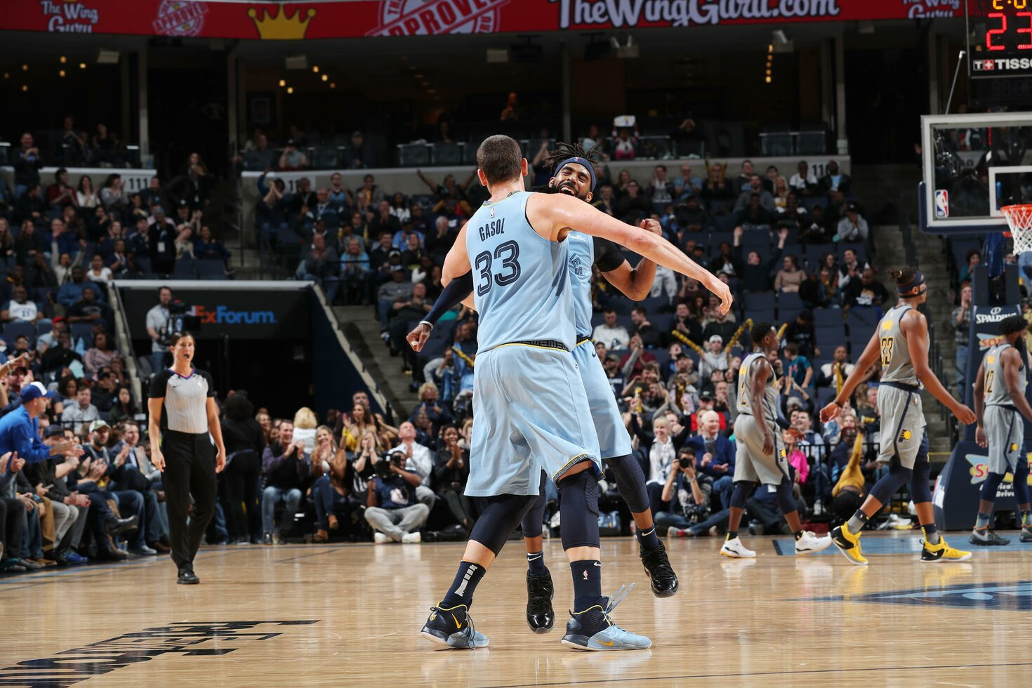 MEMPHIS, TN - JANUARY 26:  Marc Gasol #33  reacts with Mike Conley #11 of the Memphis Grizzlies against the Indiana Pacers on January 26, 2019 at FedExForum in Memphis, Tennessee.
