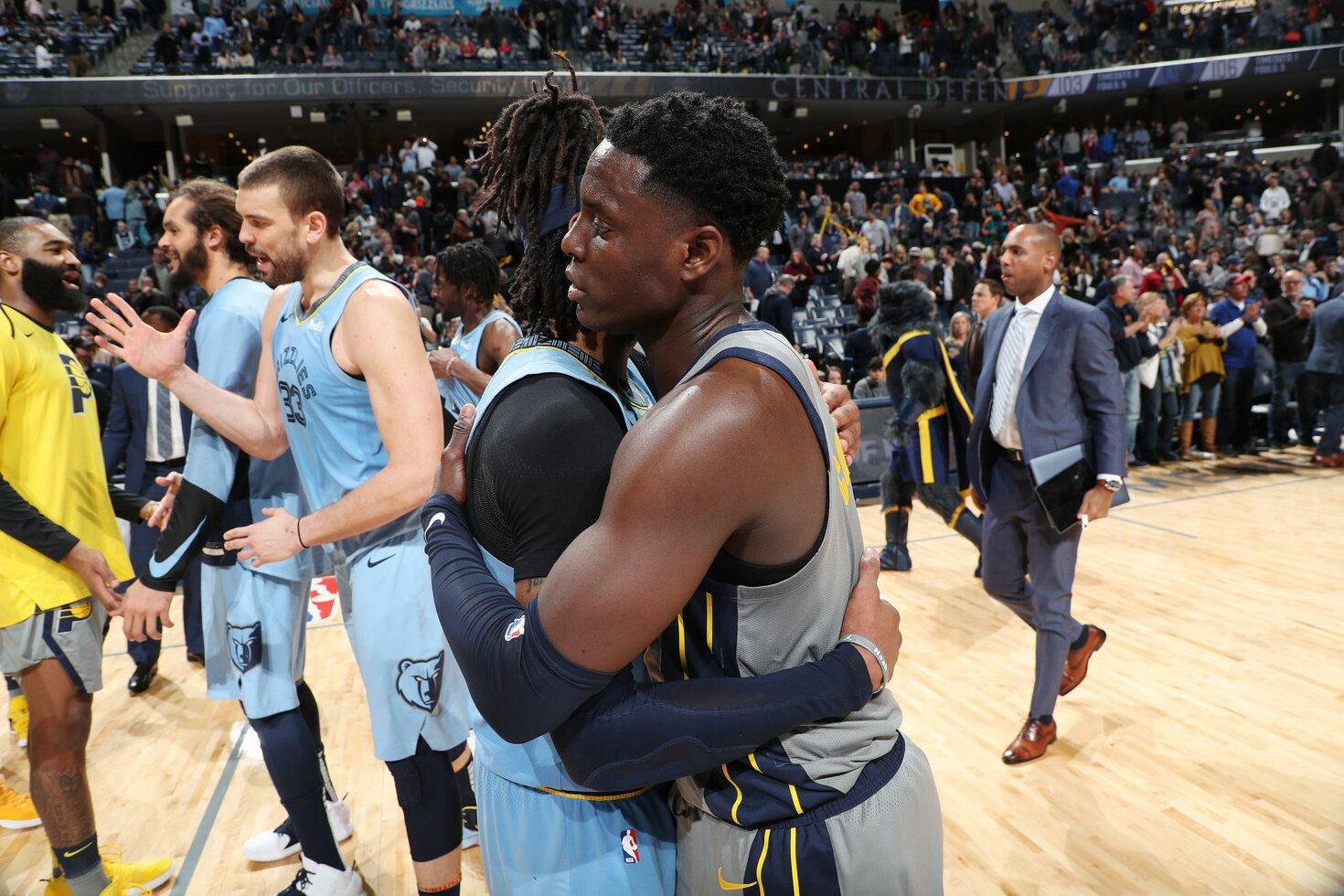 MEMPHIS, TN - JANUARY 26:  Mike Conley #11 of the Memphis Grizzlies and Darren Collison #2 of the Indiana Pacers hug after the game on January 26, 2019 at FedExForum in Memphis, Tennessee.