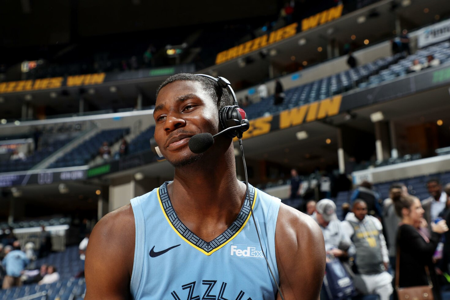 MEMPHIS, TN - JANUARY 26: Jaren Jackson Jr. #13 of the Memphis Grizzlies talks to the media after the game against the Indiana Pacers January 26, 2019 at FedExForum in Memphis, Tennessee.