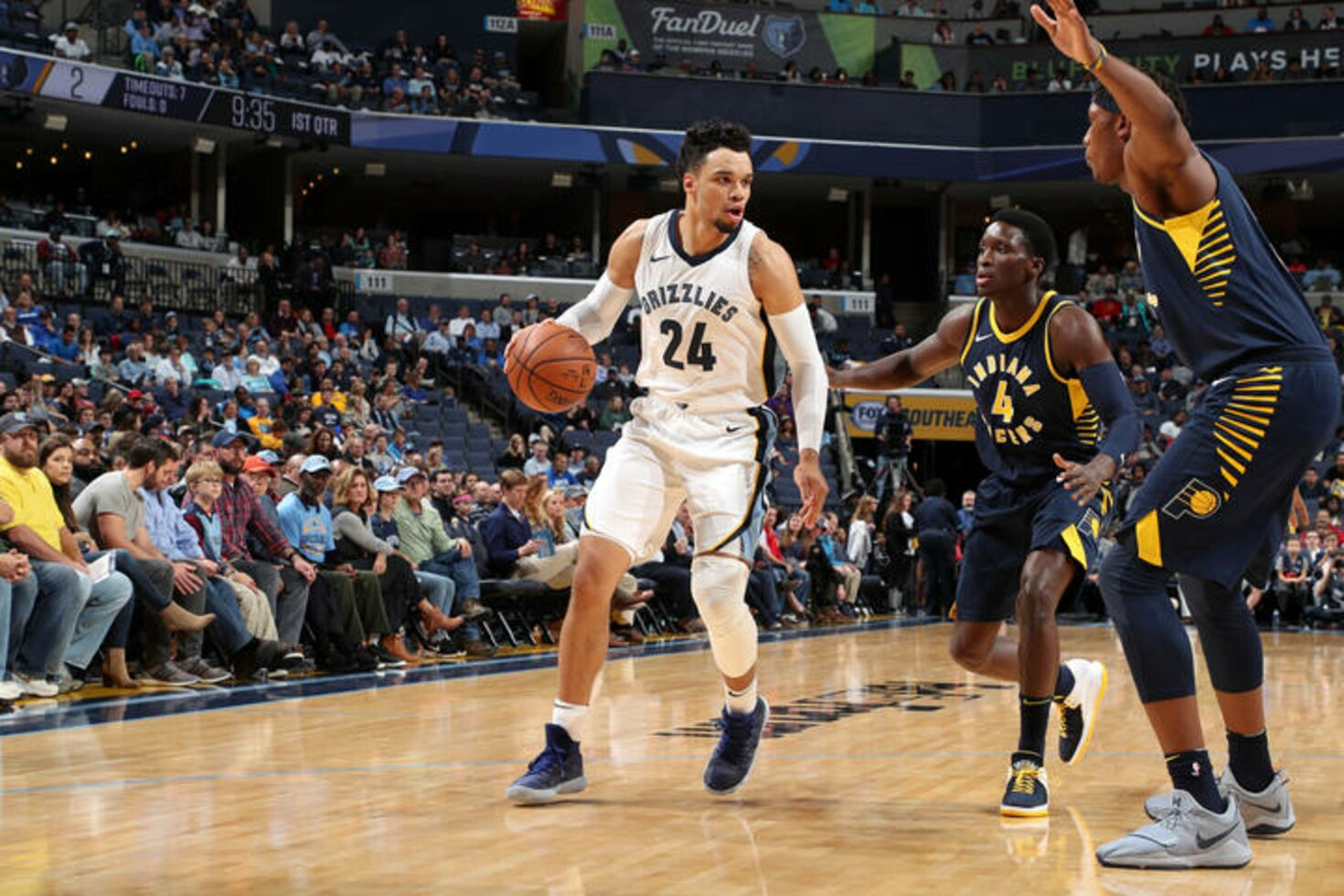 MEMPHIS, TN - NOVEMBER 15:  Dillon Brooks #24 of the Memphis Grizzlies handles the ball against the Indiana Pacers on November 15, 2017 at FedExForum in Memphis, Tennessee.