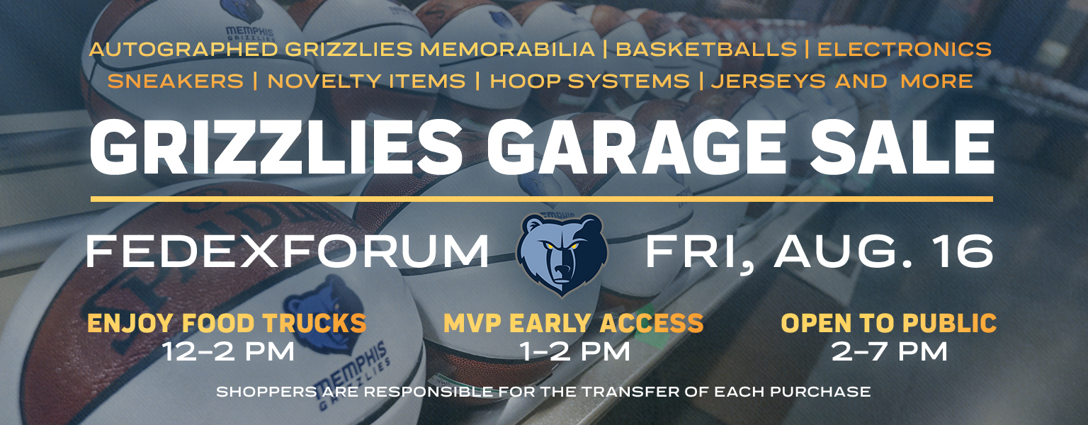 Memphis Grizzlies Announce One Day Only Grizzlies Garage Sale