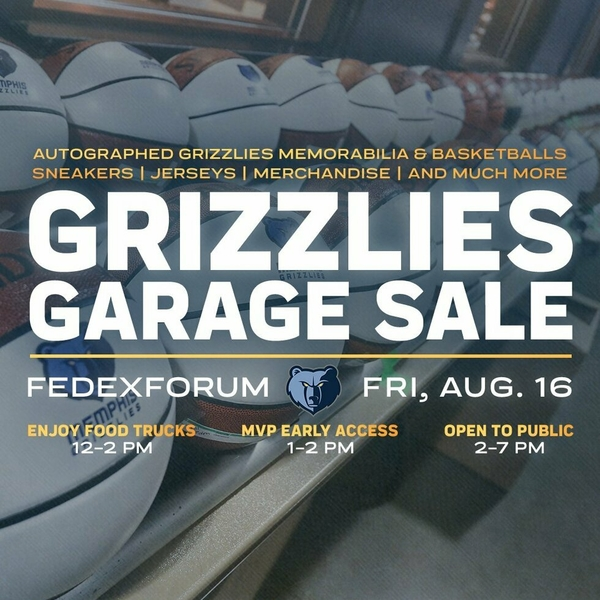 "Memphis Grizzlies announce one-day only ""Grizzlies Garage Sale"" benefiting St. Jude on August 16 from 2-7 p.m. at FedExForum"
